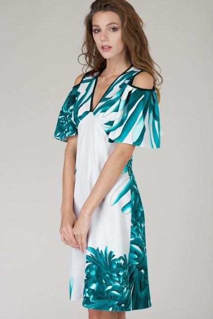 Multi Cut Out Ruffle Sleeve A Line Dress