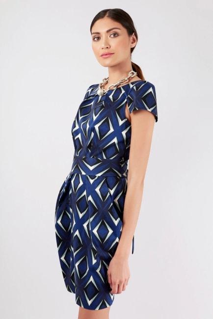 Blue Pleated Tie Back Tulip Dress