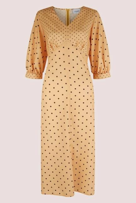 Apricot Polka Dot Puff Sleeve V-Neck Midi Dress