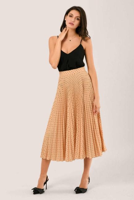 Apricot Pleated Midi Skirt