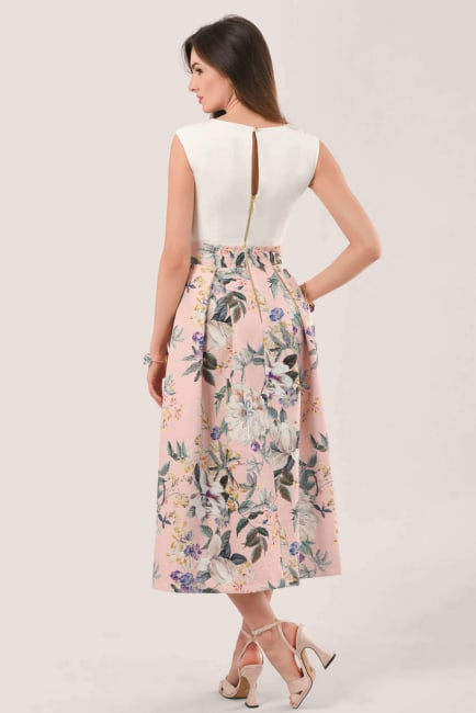 Closet Gold Peach Floral 2 in 1 Pleated Dress