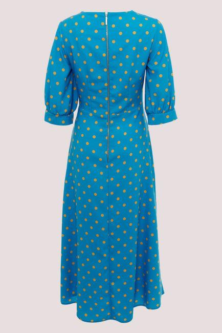Blue Puff Sleeve Wrap Dress
