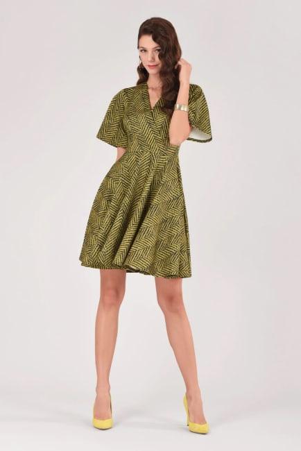 Mustard Wrap Over Circle Skirt Dress
