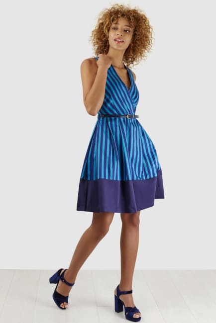 Blue Stripe Wrap Over Pleated Dress