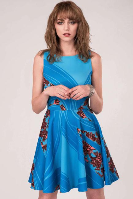 Blue Floral Sleeveless Skater Dress