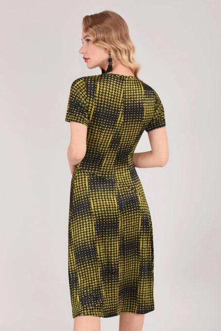 Mustard Houndstooth Asymmetric A-line Dress