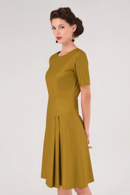 Mustard A-Line Pleated Dress