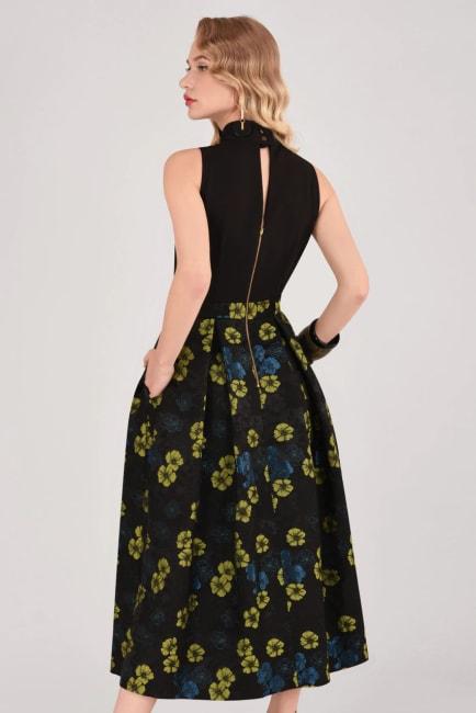 Closet Gold Lime Floral Full Skirt 2 in 1 Dress