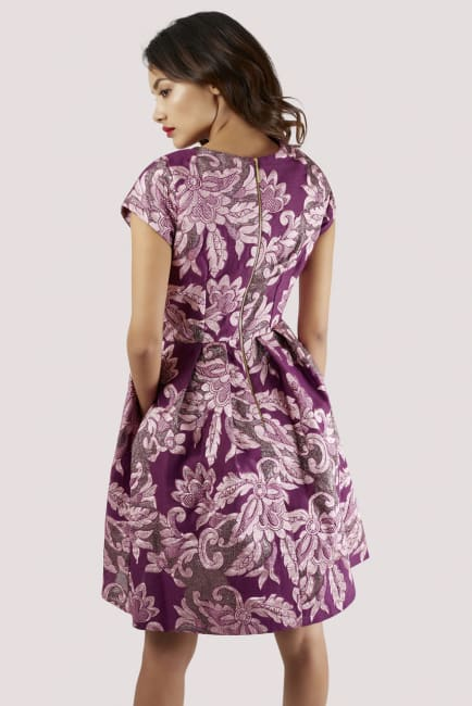 Closet GOLD Purple V-Neck Cap Sleeved Dress