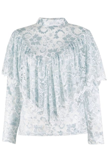 White Frill Lace Long Sleeve Top