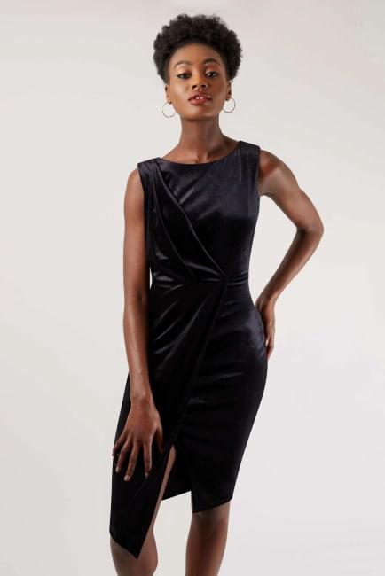 Velvet Black Wrap Dress
