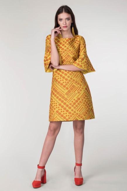 Yellow Frill Sleeve Tunic Dress