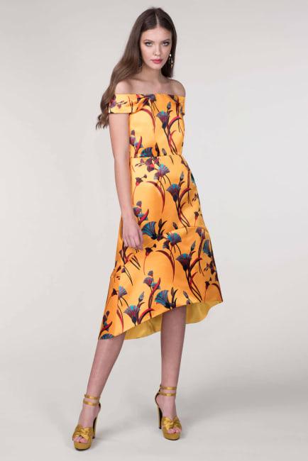 Closet Gold Yellow Bardot High Low Dress