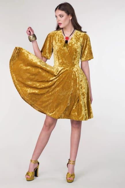 Gold Wrap Over Circle Skirt Dress