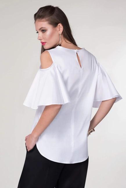 White Cold-Shoulder Blouse