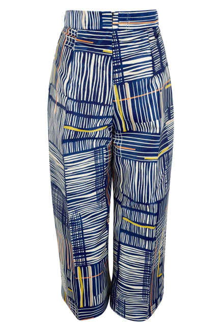 Blue Cropped High-Waisted Pants