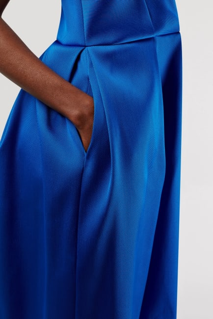 Closet Gold Satin Blue Pleated Wrap Dress