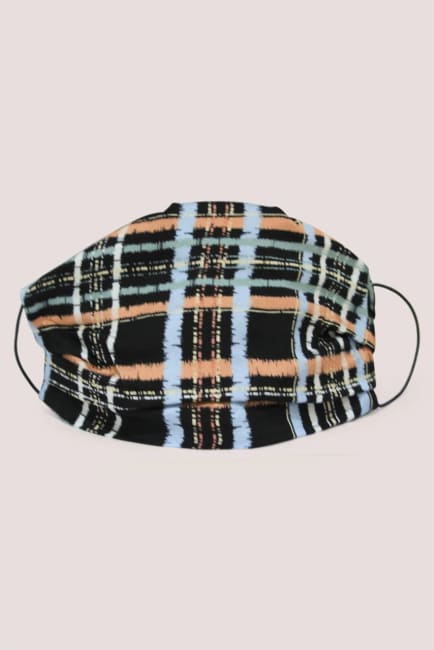 Black Check Double Layer Fabric Face Mask