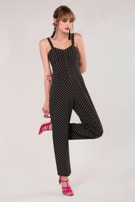 Black Fitted Strap Jumpsuit