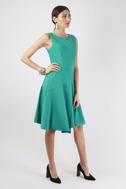 Green Asymmetrical Skirt Dress