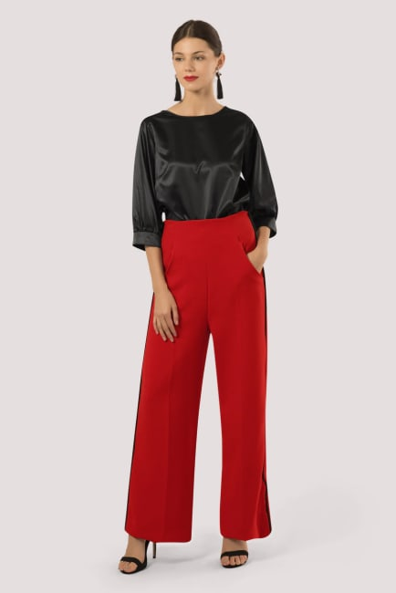 Red High Waisted Piped Pants
