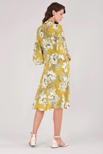 Lime Floral Trumpet Sleeve A-line Midi Dress