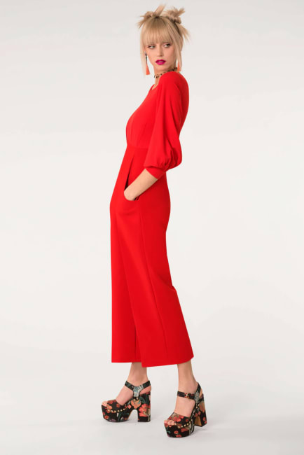 Red 2-In-1 Puff Sleeve Round Neck Jumpsuit