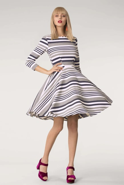 Grey & White Stripes Jersey Skater Round Neck Dress