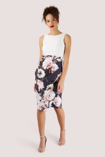 2-in-1 Navy Floral Pencil Dress