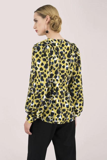 Multi Leopard Print Long Sleeve Blouse