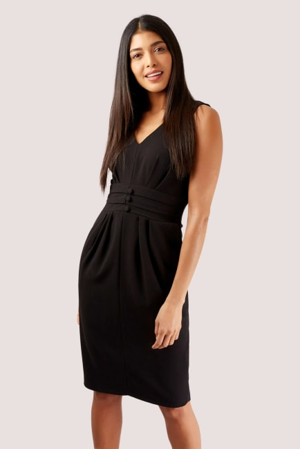 Black Fitted Waistband Pencil Dress