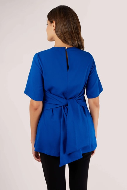 Blue Short Sleeve Top with Tie Waist