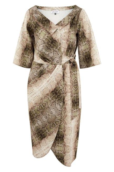 Snakeskin Print Collar Wrap Dress