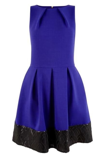 Royal Blue Skater Dress With Black Sequin Hem