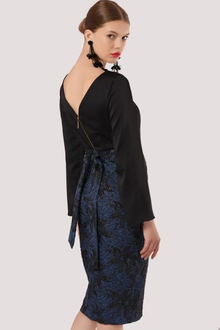 Closet Gold Blue 2 in 1 Long Sleeve Pencil Dress