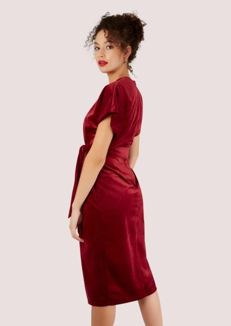 Burgundy V-Neck Velvet Kimono Dress