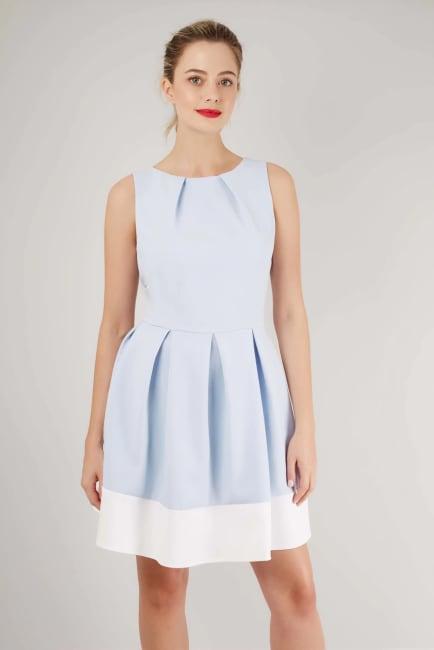 Light Blue And White Skater Dress