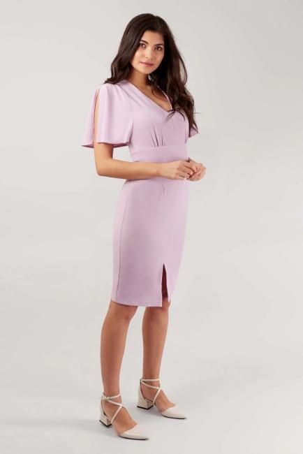 Lilac Pencil Angel Sleeve Dress