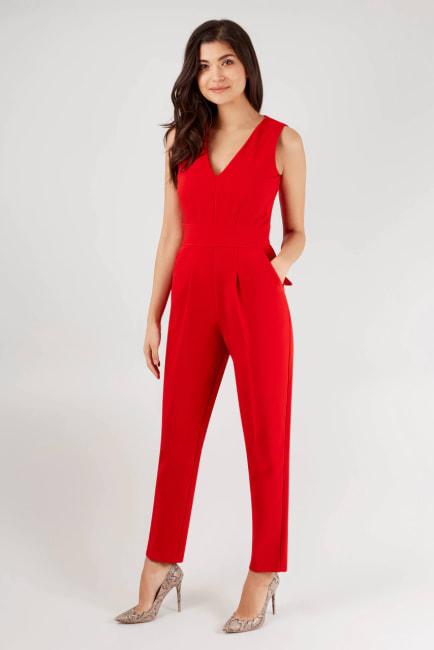 Red Sleeveless V-Neck Jumpsuit