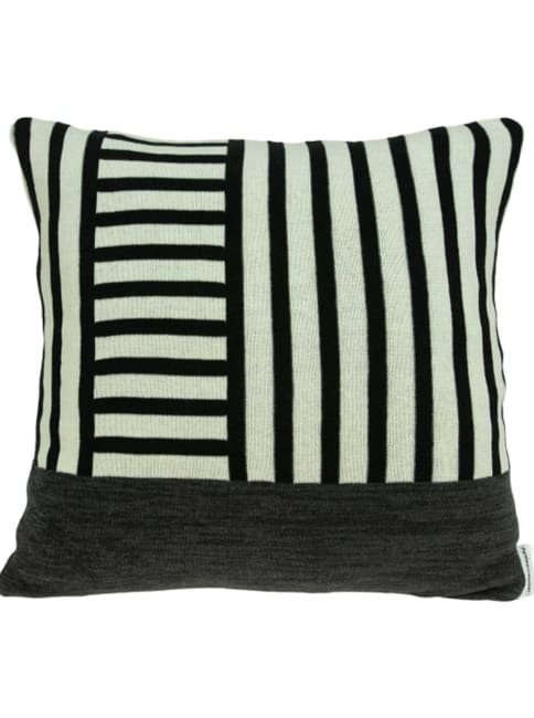 Black and Grey Pillow Cover With Down Insert