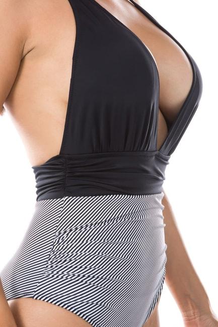 CaCelin Striped Print One Piece Swimsuit