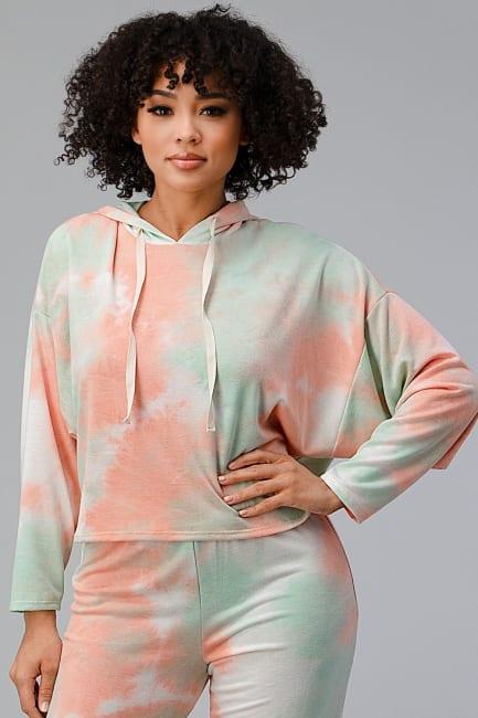 Tie Dye Hooded Sweatshirts Jogger Lounge Wear Set
