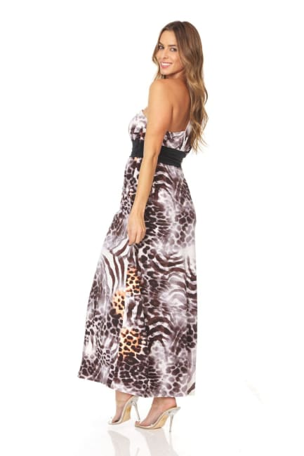 Animal Print Sleeveless Maxi Dress