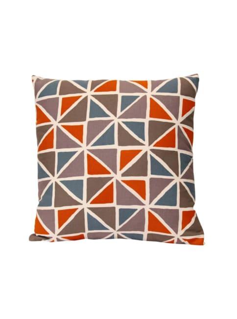 Orange and Blue Geometric Design Square Pillow