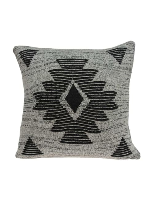 Square Southwest Gray Accent Pillow Cover