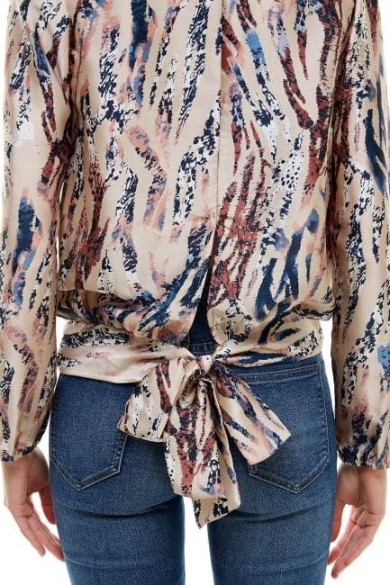 Animal Printed Long Sleeve Surplice Tie Blouse Top