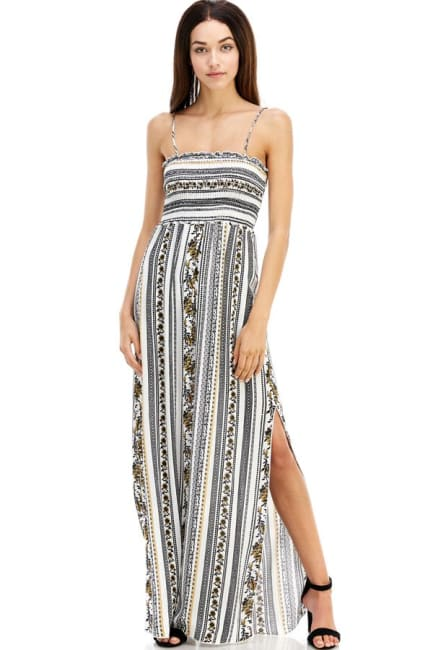 Boho Printed Smocked Tube Maxi Dress