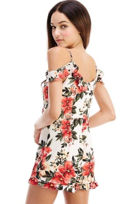 Floral Patterned Cold Shoulder Romper