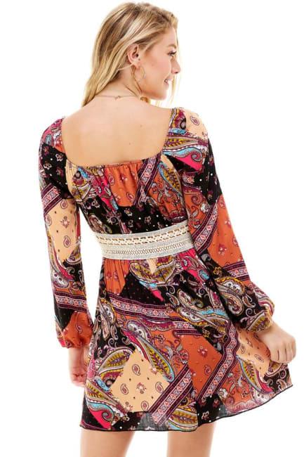 Patchwork Printed Crochet Waist Dress