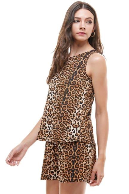 Animal Printed Sleeveless Top and Short Loungewear Set